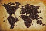 mapa świata usypana z kawy