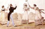 XIX wieczna rycina graczy w serso